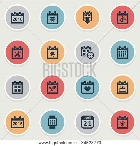 Vector Illustration Set Of Simple Plan Icons. Elements Date, Snowflake, Date Block And Other Synonyms Day, Date And Calendar.