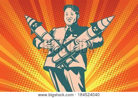 Kim Jong-UN with nuclear rocket. The Leader Of North Korea. Comic cartoon style pop art vector retro illustration