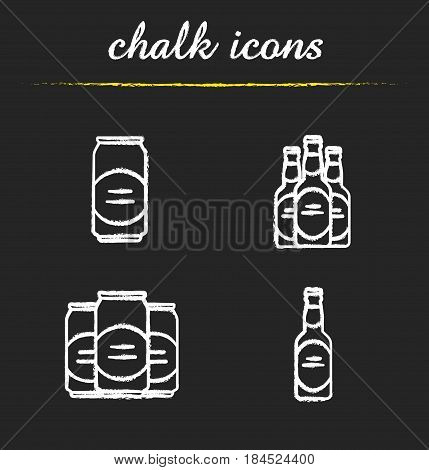 Beer chalk icons set. Beer bottles and cans. Isolated vector chalkboard illustrations