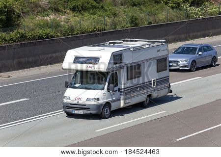 Frankfurt Germany - March 30 2017: LMC Liberty camper van on the highway A5 direction south in Germany