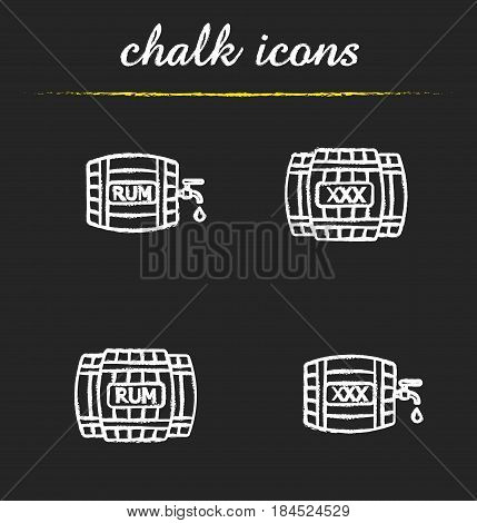 Alcohol wooden barrels chalk icons set. Rum or whiskey wooden barrels with tap, drop and xxx sign. Isolated vector chalkboard illustrations