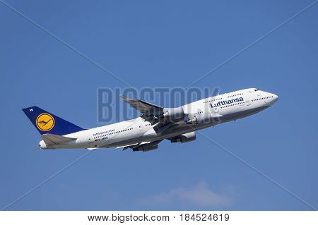 Frankfurt Germany - March 30 2017: Lufthansa airlines Boeing 747-8 after take off at the Frankfurt international airport