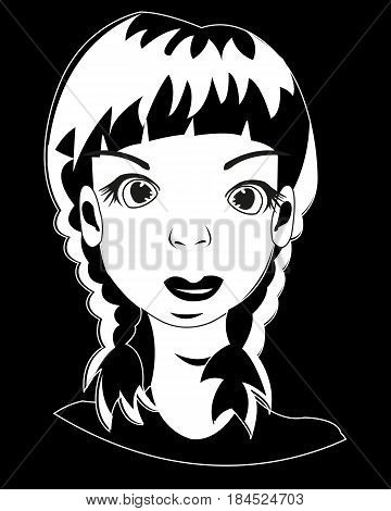 Portrait of the young beautiful girl in black white colour