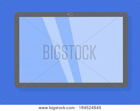 Tablet computer on a blue background blank, business