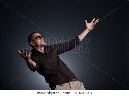 Stylish Man With Sunglasses Waiting