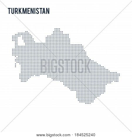 Vector Dotted Map Of Turkmenistan Isolated On White Background .