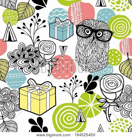 Cute owl and gifts background. Vector seamless illustration.