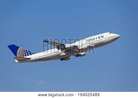 Frankfurt Germany - March 30 2017: United Airlines Boeing 747-451 after take off at the Frankfurt international airport