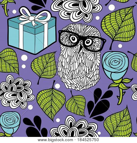 Romantic background with smart owl and blue roses. Vector seamless pattern.