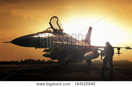 Military jet in silhouette with pilot walking away