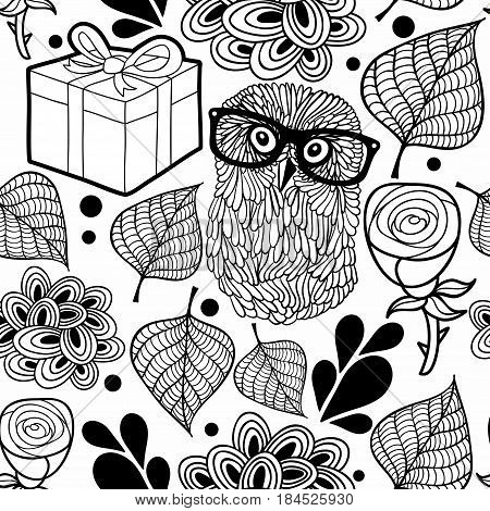 Black and white pattern with owl and gifts. Vector background for coloring.