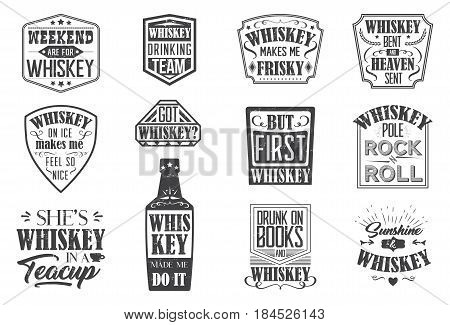 whiskey quote badges, motto written on white background, frame with stars in vintage americana whiskey label style, vector illustration, design for print on t-shirt