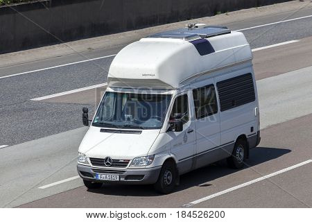 Frankfurt Germany - March 30 2017: Mercedes Benz Westfalia James Cook motorhome on the highway A5 direction south in Germany