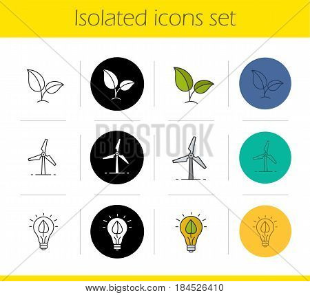 Eco energy icons set. Linear, black and color styles. Growing plant, windmill, eco concept. Isolated vector illustrations