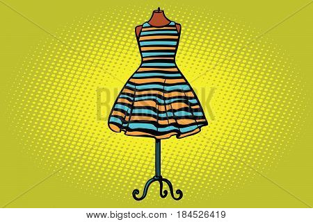 striped dress in Studio on the dummy front hanger. Comic cartoon style pop art vector retro illustration