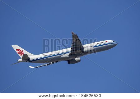 Frankfurt Germany - March 30 2017: Air China Airbus A330-300 after take off at the Frankfurt international airport