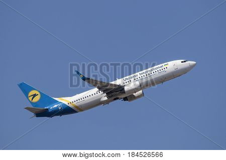 Frankfurt Germany - March 30 2017: Ukraine International Airlines Boeing 737-800 after take off at the Frankfurt international airport