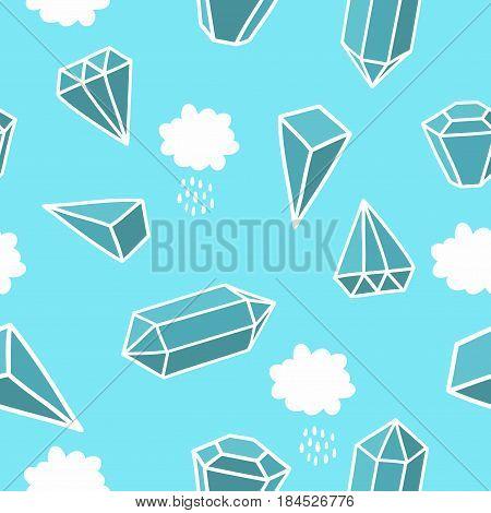 Diamonds in the sky. Seamless vector pattern.