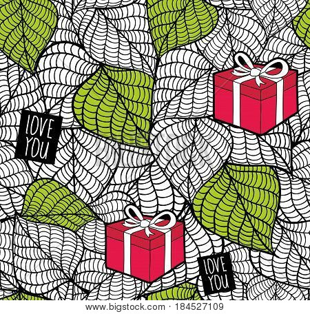 Endless textured background with spring leaves and gift boxes. Vector seamless pattern for romantic dates.
