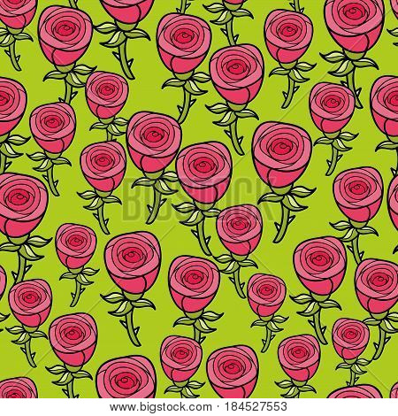 Seamless pattern for romantic case. Vector endless background with fresh roses. Floral decorative wallpaper.