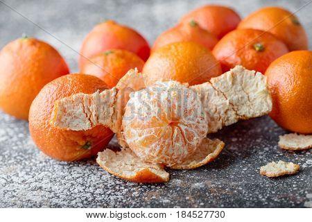 tangerines peeled tangerine and tangerine slices. Tasty tangerines close-up