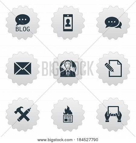 Vector Illustration Set Of Simple Blogging Icons. Elements International Businessman, Gazette, Argument And Other Synonyms Pencil, News And Pen.