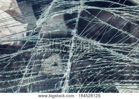 Crashed windshield of a car after accident