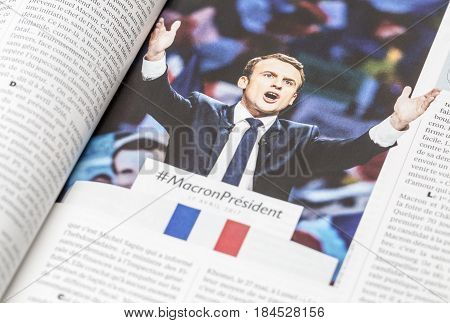 France - April 292017: The French magazine L'Express publish an inside story and pictures of the presidential candidate Emmanuel Macron which passed in the second round of the French elections 2017.