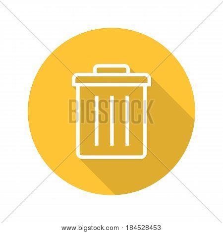 Recycle bin flat linear long shadow icon. Trashcan. Vector line symbol