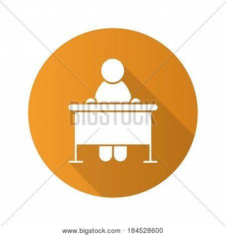 School student flat design long shadow icon. School pupil. Vector silhouette symbol