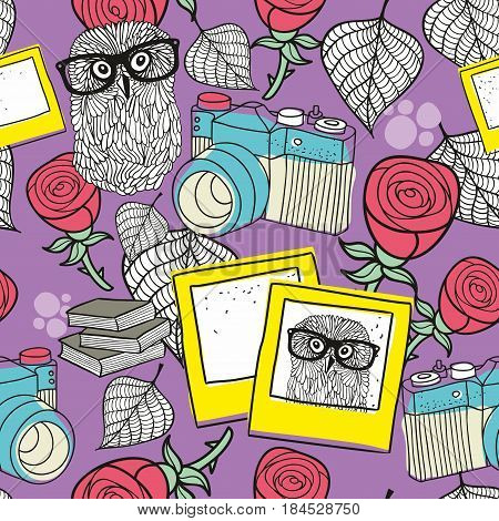 Love story seamless pattern with smart owls and old photos. Romantic vector wallpaper.