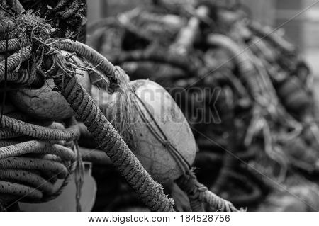 Old rotten fishing equipment rope buoy black and white