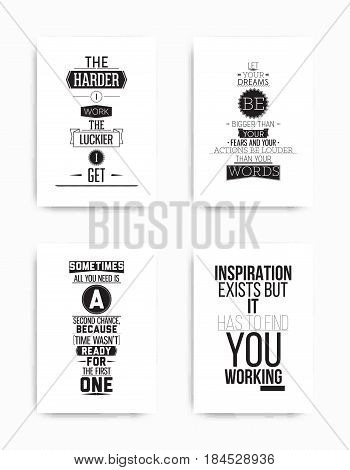 A set of four motivational posters with popular quotes black and white colors