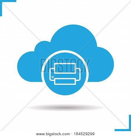 Cloud storage printer icon. Drop shadow silhouette symbol. Cloud computing. Negative space. Vector isolated illustration