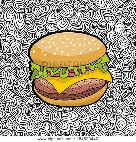 Hand drawn burger from fastfood on doodle background. Vector doodle illustration.