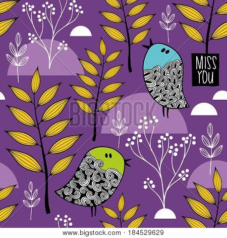 Winter in the forest vector pattern. Doodle birds and plants on the background.