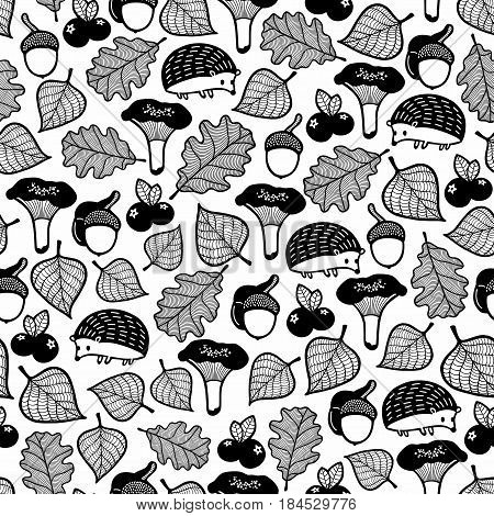 Seamless pattern with forest flora and fauna.