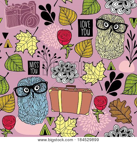Seamless pattern with hipster owl friends and romantic roses. Vector wallpaper for tourists.