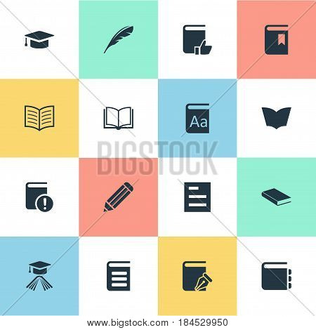 Vector Illustration Set Of Simple Books Icons. Elements Recommended Reading, Plume, Book Cover And Other Synonyms Note, Dictionary And Plume.