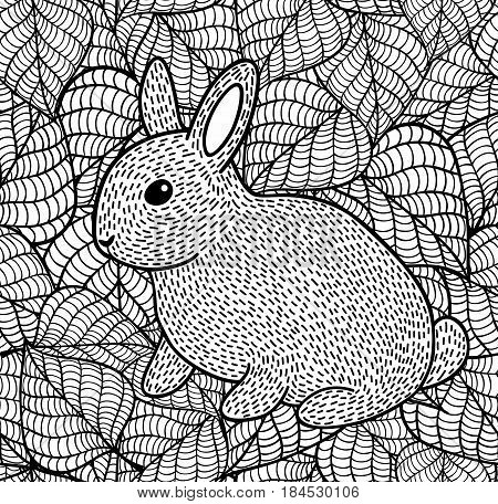 Cute little rabbit on the leaves background. Vector black and white illustration for coloring.