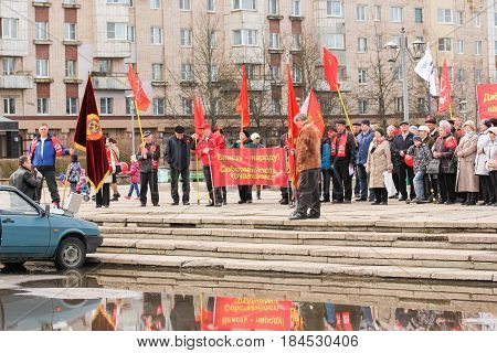 Kirishi, Russia - 1 May, Conducting a communist rally,1 May, 2017. People at the May demonstration and rally in the Russian provincial government.