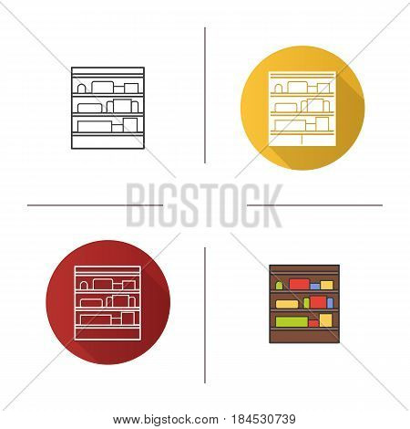 Shop shelves icon. Flat design, linear and color styles. Supermarket stand with goods. Isolated vector illustrations
