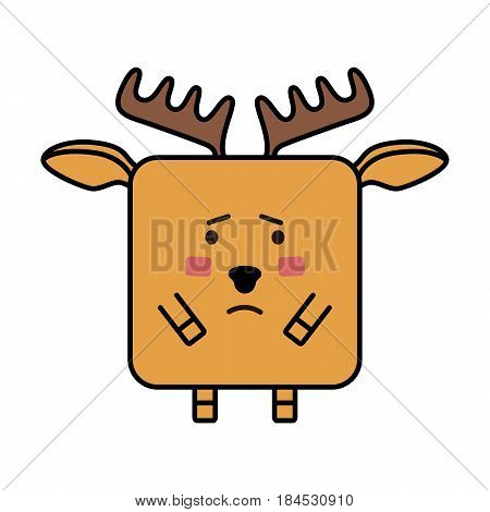 sad cute deer elk flat emoticon, elk flat vector icon