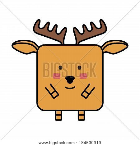 smiling  cute deer elk flat emoticon, elk flat vector icon