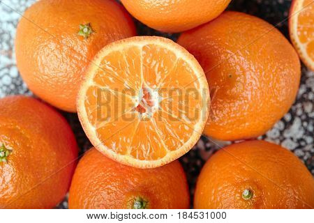 sweet tangerine slices background. Tasty tangerines close-up