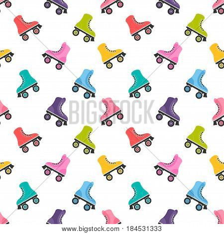 seamless pattern with roller skates on white background