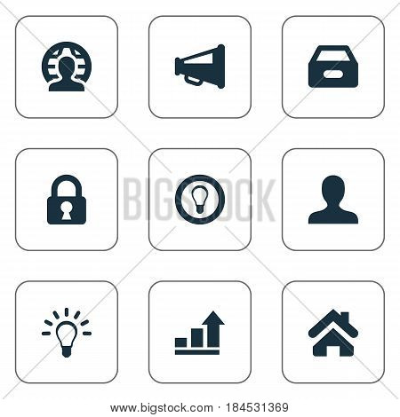 Vector Illustration Set Of Simple Business Icons. Elements Human, Dossier, Bulb And Other Synonyms Mind, Lamp And Estate.