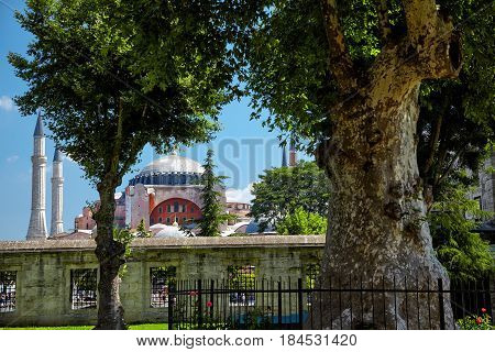 The View Of Hagia Sophia From The Courtyard Of Blue Mosque In Istanbul.