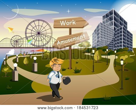 Businessman Standing at the Crossroads. vector illustration