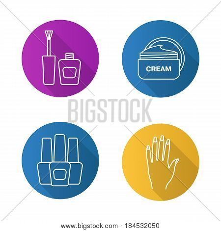 Manicure flat linear long shadow icons set. Nail polish bottles, woman's hand with manicure, cream jar. Vector line illustration